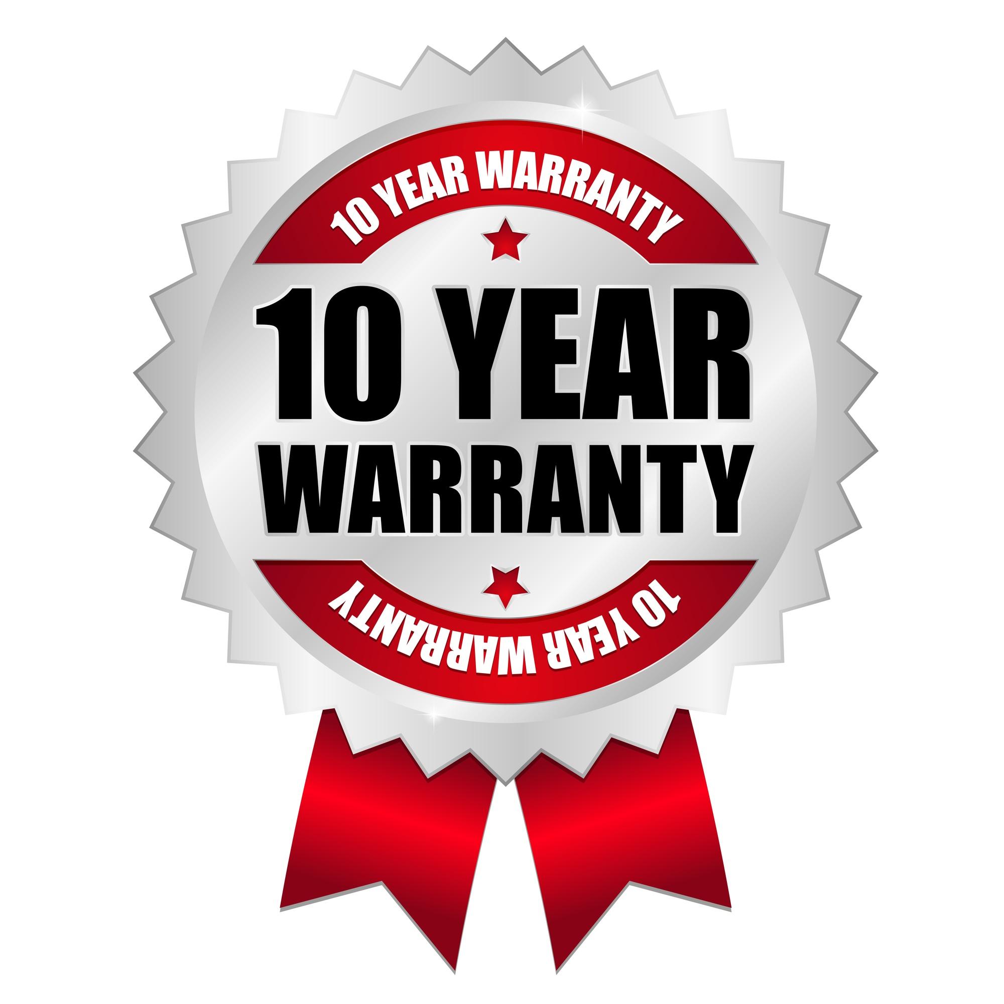 10 year warranty ribbon icon